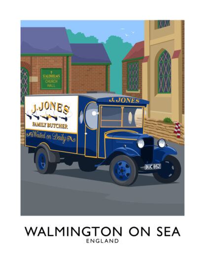 Vintage style art print of Walmington On Sea, the home of the Dad's Army tv sitcom.