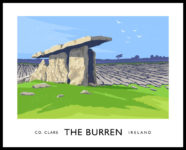 Vintage style art print of the Poulnabrone Dolmen on the Burren, County Clare.