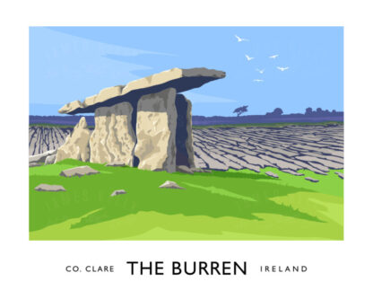 Vintage style poster art print of Poulnabrone Dolmen in the Burren, County Clare