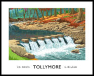 Vintage style art print of the Stepping Stones crossing the Shimna River in Tollymore Forest Park in the Mournes, County Down