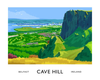 Vintage style art print of Belfast and Napoleon's Nose from Cave Hill.