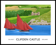 Vintage style art print of Galway Hooker sailing boats off the Galway coast by Clifden Castle.