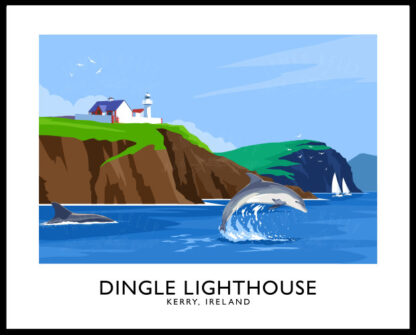 Vintage style art print of dolphins near Dingle Lighthouse, County Kerry.