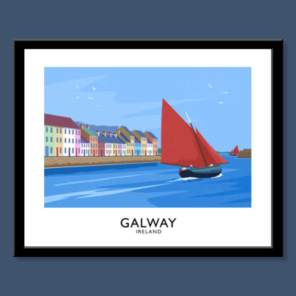 Vintage style art print of Galway Hooker sailing boats off The Long Walk in The Claddagh district of Galway City.