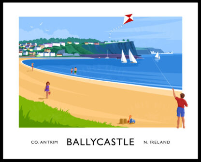 Vintage style art print of Ballycastle beach, County Antrim.