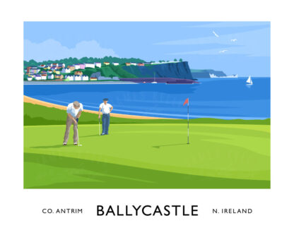 Vintage style art print of golfers at Ballycastle, County Antrim