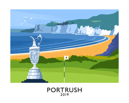 Limited Edition art print celebrating the return of The Open Championship to Royal Portrush in 2019.