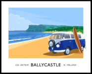 Vintage style travel poster art print of a vw camper van on Ballycastle beach, County Antrim