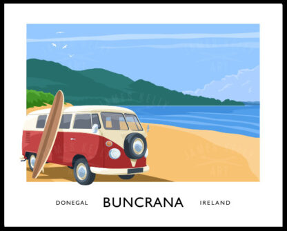 Vintage style travel poster art print of a vw camper van on the beach at Buncrana, Donegal