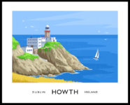 Vintage style art print of the Baily Lighthouse, Howth, County Dublin.