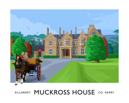 Vintage style art print of Muckross House and Gardens in Killarney, County Kerry, Ireland.