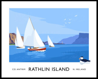 Vintage style art print of yachts sailing on Rathlin Sound between Rathlin Island and Ballycastle.