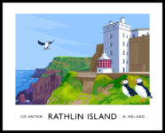 Vintage style art print of the West Lighthouse and Puffins on Rathlin Island, County Antrim.