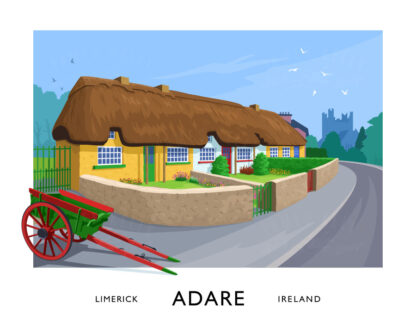 A vintage style art print of the picturesque row of thatched cottages in Adare, County Limerick.