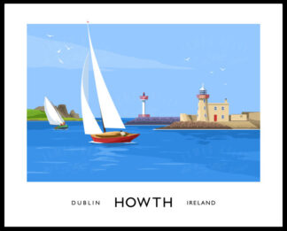 Vintage style art print of Howth Harbourin County Dublin, featuring the lighthouse and Ireland's Eye (island) in the background.