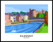A vintage style art print of Kilkenny Castle from the River Nore, County Kilkenny, Ireland.