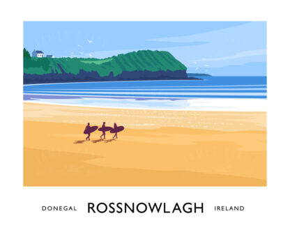 Vintage style art print of Rossnowlagh Beach in County Donegal.