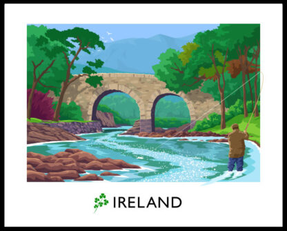 A vintage style art print of a gentleman fly fishing near Old Weir Bridge in Killarney National Park, County Kerry, Ireland.