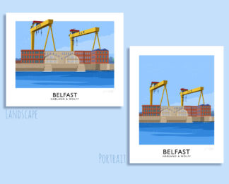 Vintage style art print of Belfast's iconic Harland and Wolff twin cranes, Samson and Goliath.