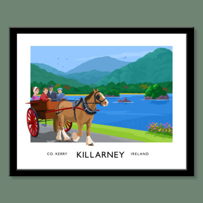 A vintage style art print of a traditional horse and trap driving Killarney National Park, County Kerry.