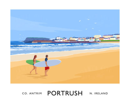 A vintage style art print of surfers on the West Strand at Portrush, County Antrim.