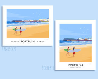 A vintage style travel poster art print of surfers on the West Strand at Portrush, County Antrim.