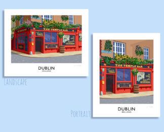 A vintage style art print of the colourful Temple Bar pub in Dublin, Ireland.