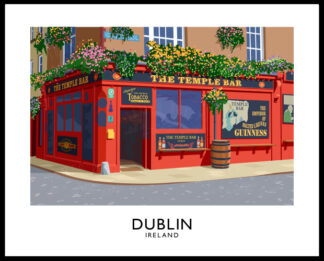A vintage style art print of the colourful Temple Bar pub in Dublin, Ireland.