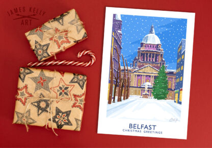 Christmas Card of Belfast City Hall from Donegal Place