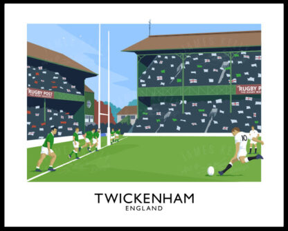 A vintage style art ptint of a Rugby Union match between England and Ireland at Twickenham