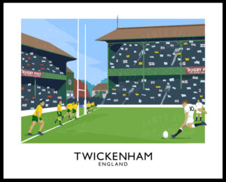 A vintage style art ptint of a Rugby Union match between England and Australia at Twickenham