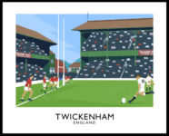 A vintage style art ptint of a Rugby Union match between England and Wales at Twickenham