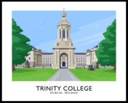 A vintage style poster art ptint of Trinity College, Dublin.