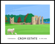Vintage style poster art print of the old castle ruins at Crom Estate in County Fermanagh