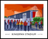 Vintage style poster art print of Ulster Rugby supporters arriving at the Kingspan Stadium