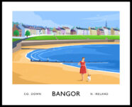 A vintage style poster art ptint of Ballyholme beach in Bangor, County Down.