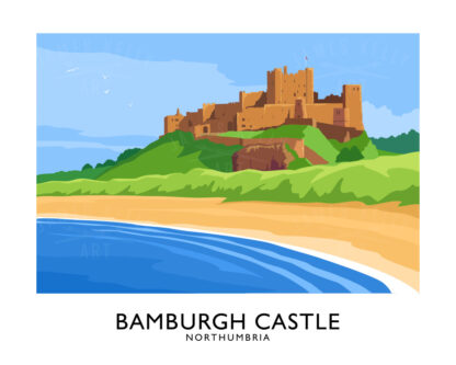 A vintage style poster art ptint of Bamburgh Castle in Northumbria, England.