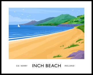A vintage style poster art ptint of Inch Beach near Dingle, County Kerry.