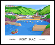 A vintage style poster art ptint of Port Isaac, Cornwall, England.