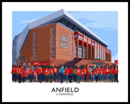 Vintage style poster art print of Liverpool FC supporters arriving at Anfield stadium