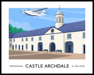 A vintage style poster art print of a WW2 Sunderland seaplane flying over Castle Archdale, County Fermanagh.