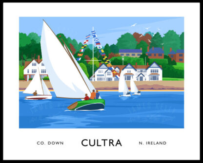 Vintage style poster art print of sailing yachts off Cultra seafront, County Down.