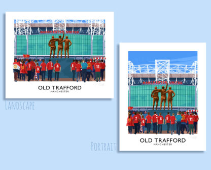Vintage style poster art print of Man Utd supporters arriving at Old Trafford stadium, Manchester.