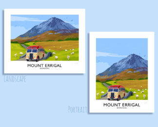A vintage style travel poster art print of Mounr Errigal in County Donegal, Ireland.