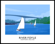 A vintage style art print of sailing boats on the River Foyle near Derry/Londonderry, with the Foyle Bridge in the background.