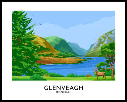 A vintage style art print of Glenveagh National Park, Donegal.