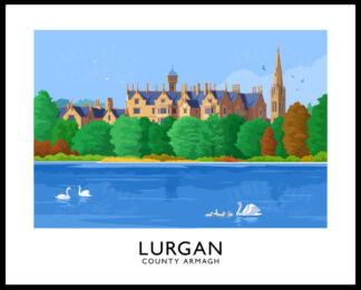 A vintage style poster art print of Lurgan Park with Brownlow House in the background.