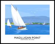 A vintage style poster art print of sailing boats off Magilligan Point