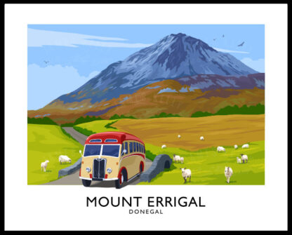 A vintage style art print of Mount Errigal, Donegal.