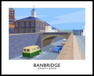Vintage style poster art print of 'The Cut' in Banbridge, County Down